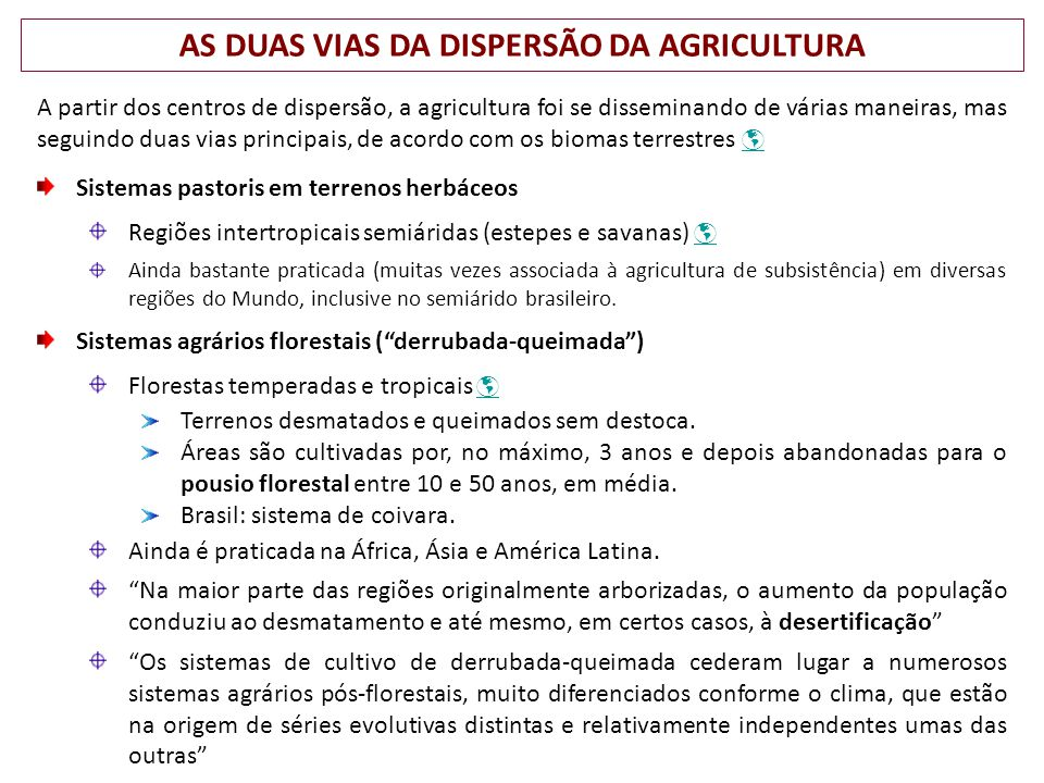 AS DUAS VIAS DA DISPERSÃO DA AGRICULTURA