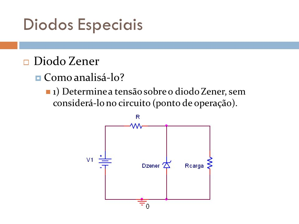 Diodos Especiais Diodo Zener Como analisá-lo