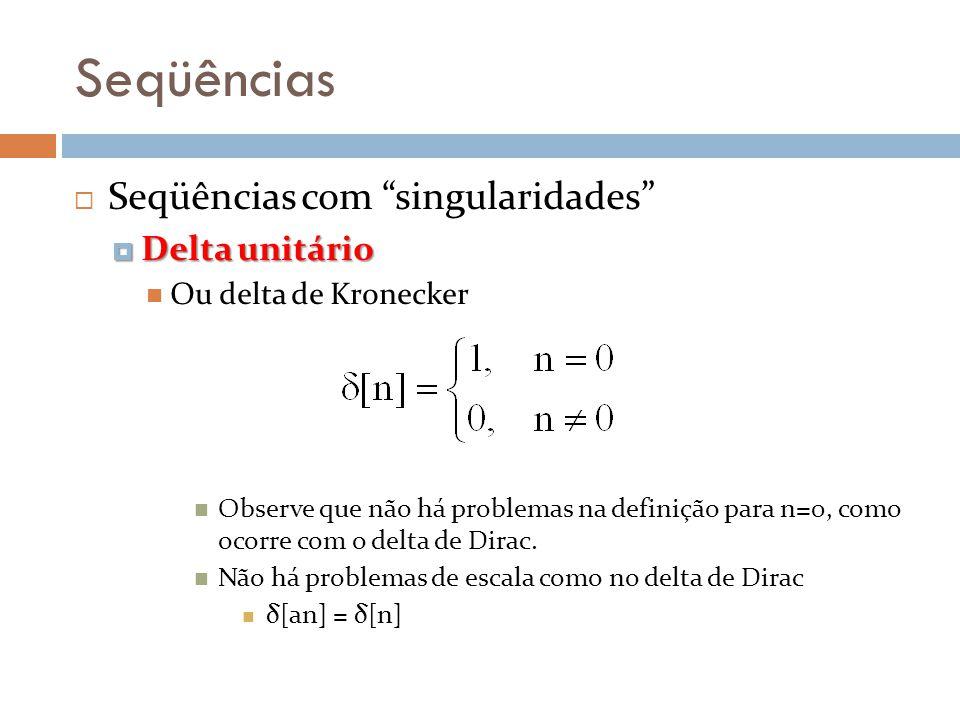 Seqüências Seqüências com singularidades Delta unitário