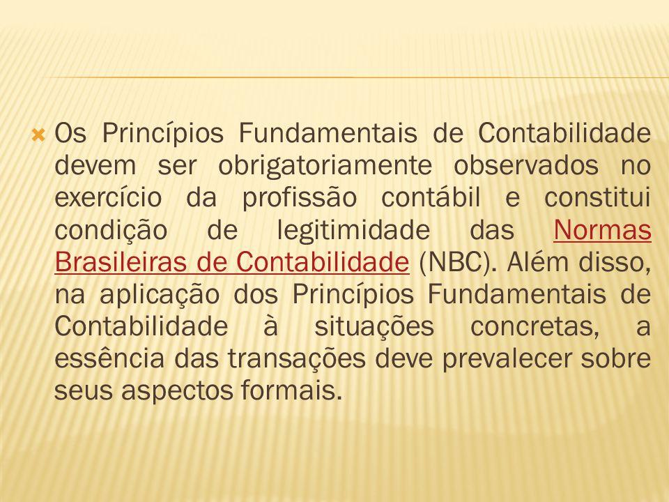 Os Princípios Fundamentais de Contabilidade devem ser obrigatoriamente observados no exercício da profissão contábil e constitui condição de legitimidade das Normas Brasileiras de Contabilidade (NBC).