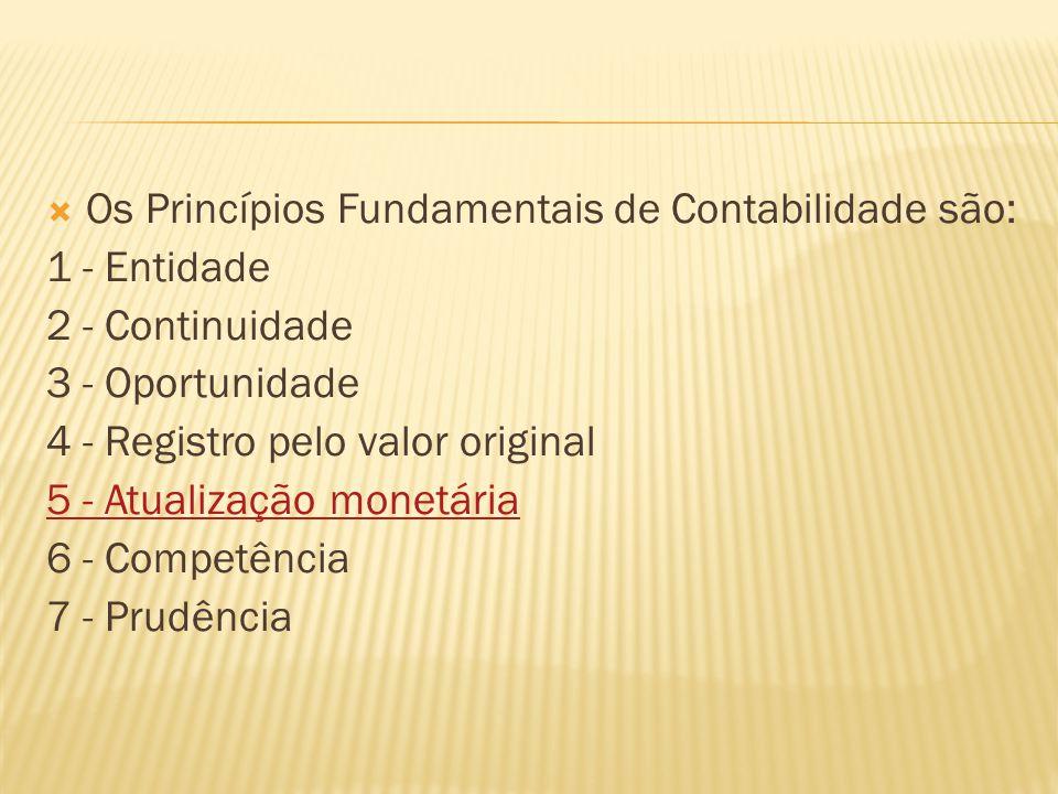 Os Princípios Fundamentais de Contabilidade são: