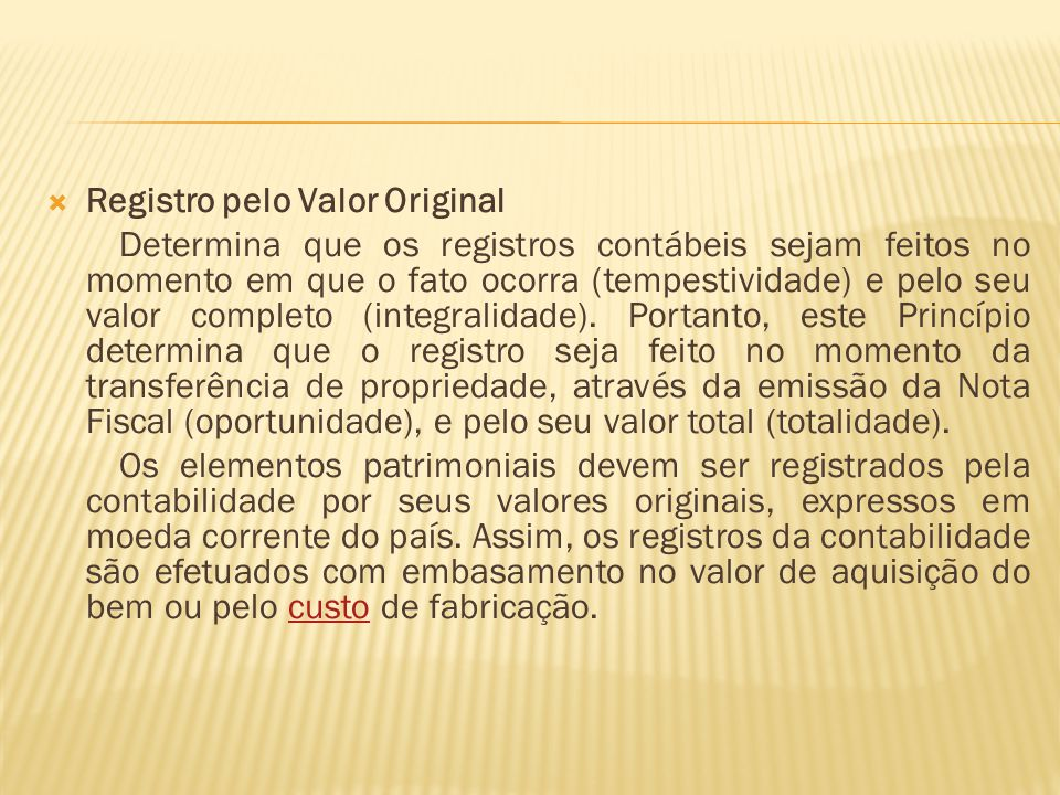Registro pelo Valor Original