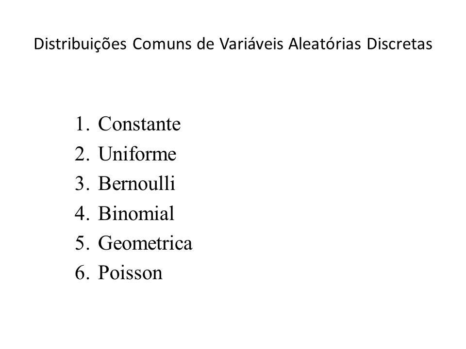 Distribuições Comuns de Variáveis Aleatórias Discretas