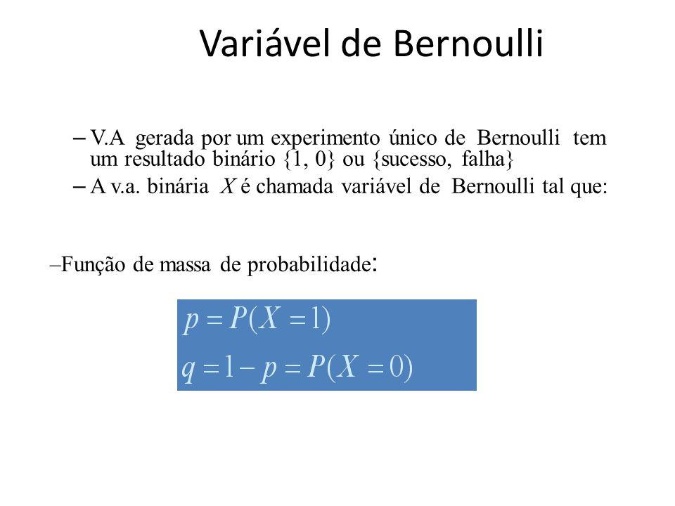Variável de Bernoulli V.A gerada por um experimento único de Bernoulli tem um resultado binário {1, 0} ou {sucesso, falha}