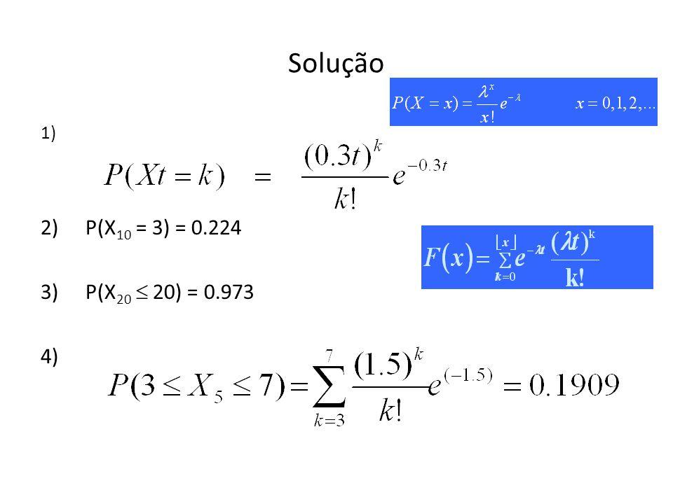 Solução 1) P(X10 = 3) = 0.224 P(X20  20) = 0.973