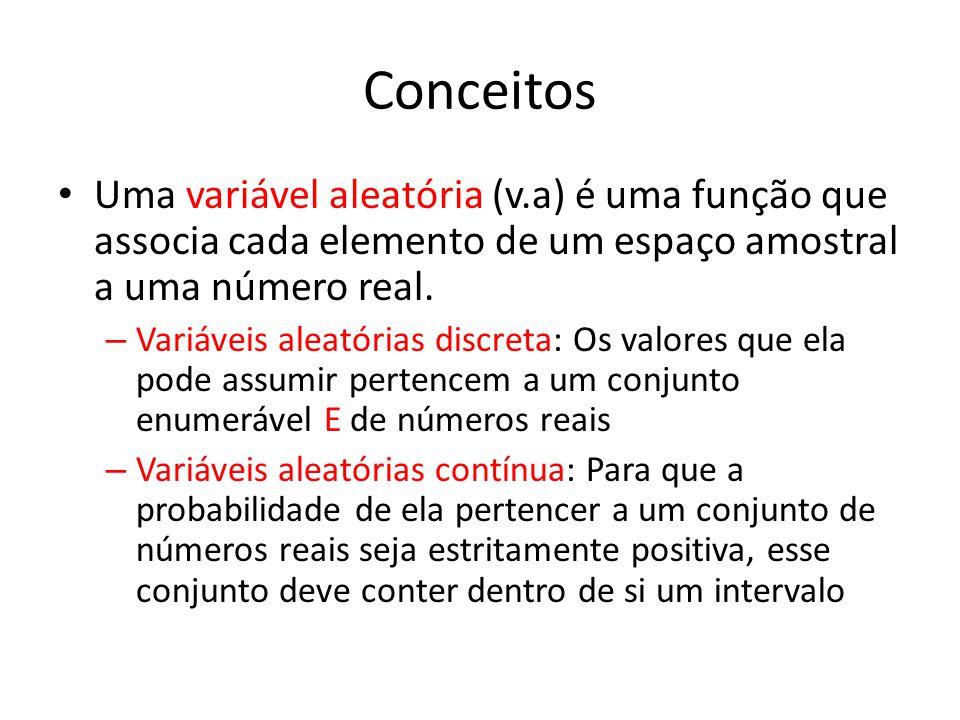 Conceitos Uma variável aleatória (v.a) é uma função que associa cada elemento de um espaço amostral a uma número real.