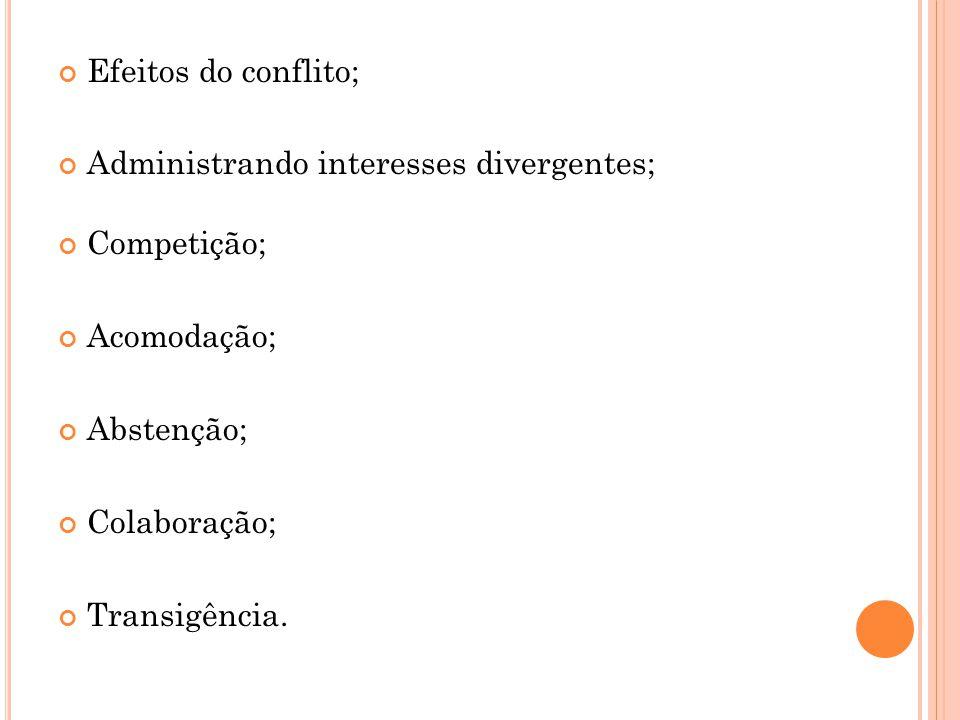 Efeitos do conflito; Administrando interesses divergentes; Competição; Acomodação; Abstenção; Colaboração;