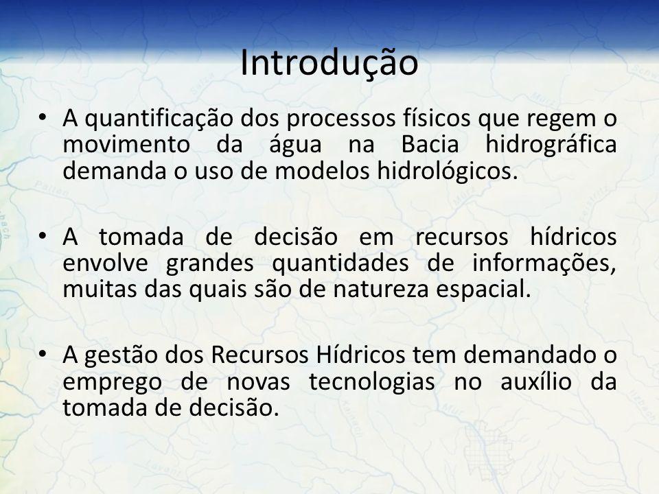 Introdução A quantificação dos processos físicos que regem o movimento da água na Bacia hidrográfica demanda o uso de modelos hidrológicos.