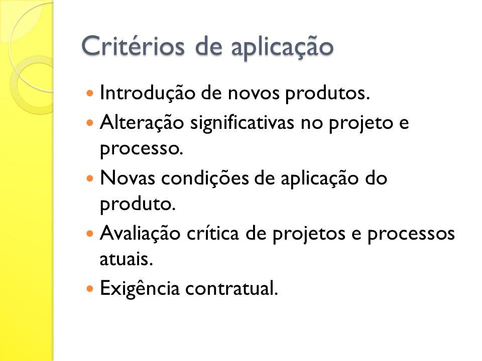 Critérios de aplicação