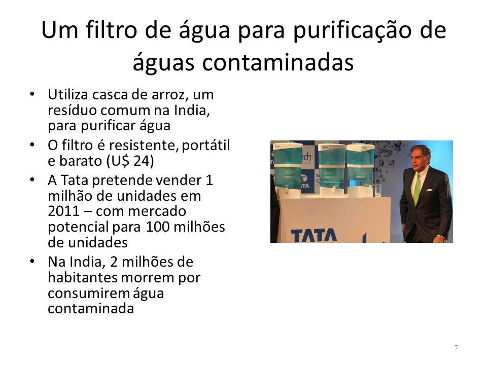 Um filtro de água para purificação de águas contaminadas