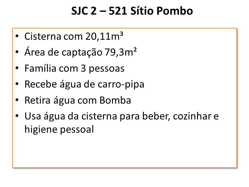 SJC 2 – 521 Sítio Pombo Cisterna com 20,11m³ Área de captação 79,3m²