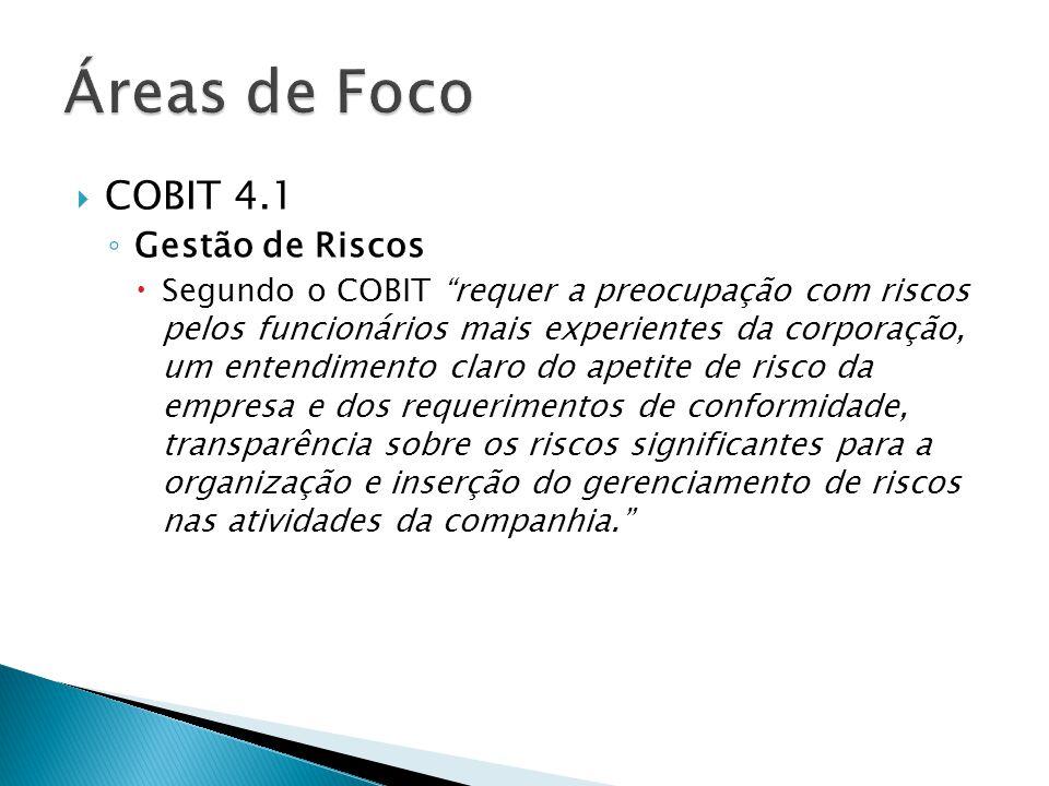Áreas de Foco COBIT 4.1 Gestão de Riscos