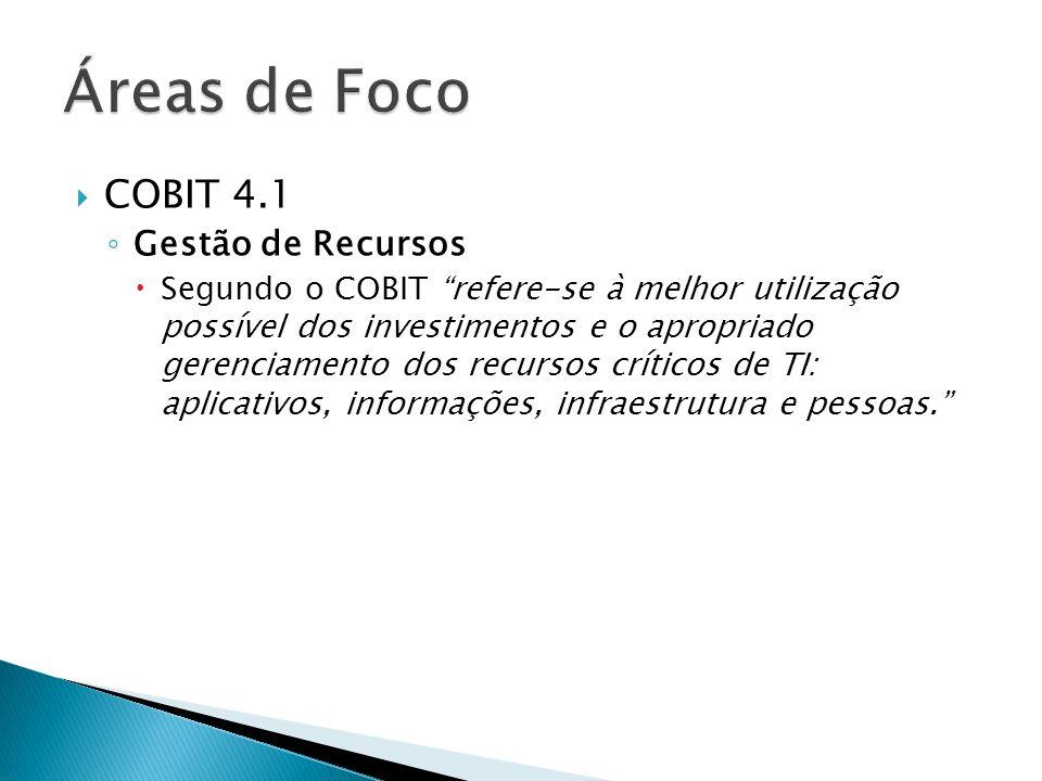 Áreas de Foco COBIT 4.1 Gestão de Recursos