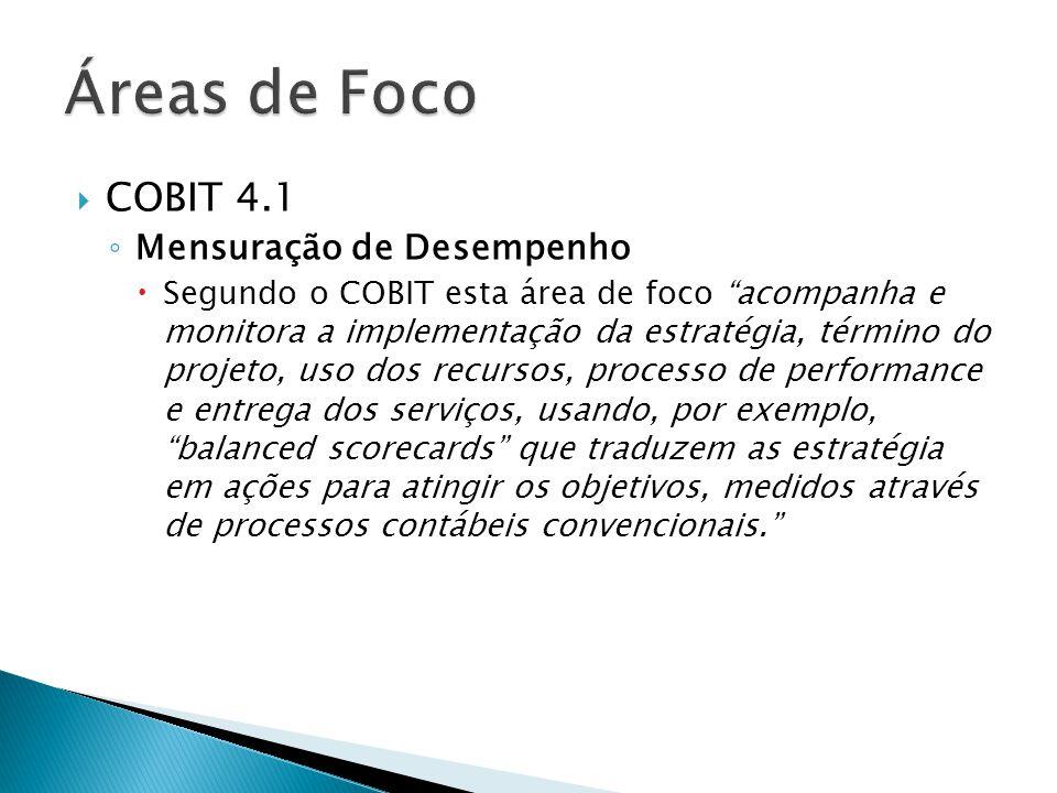 Áreas de Foco COBIT 4.1 Mensuração de Desempenho