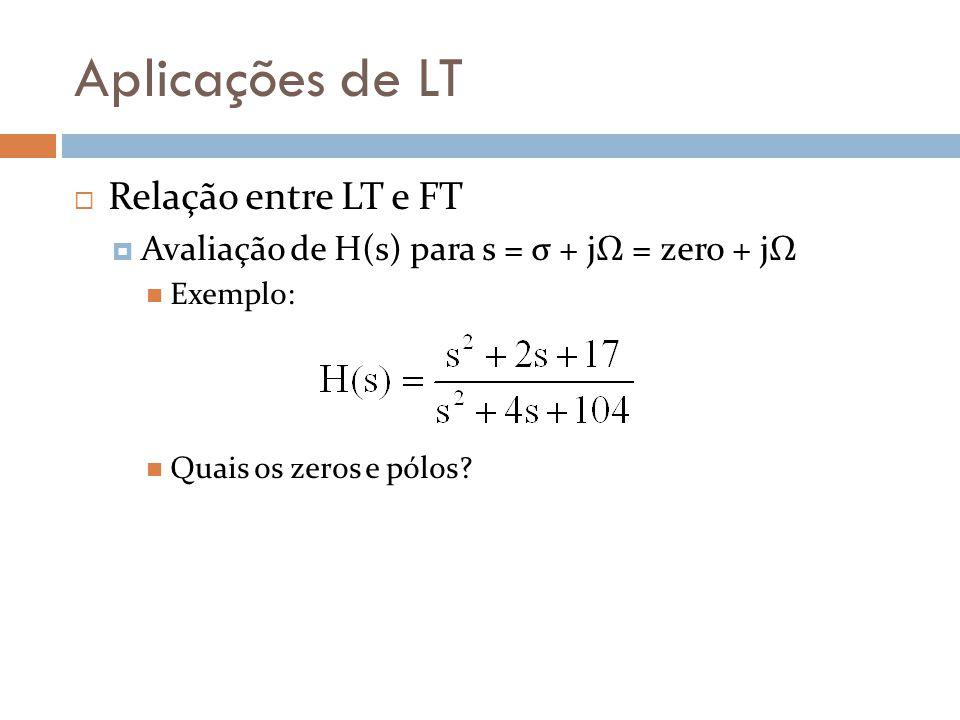 Aplicações de LT Relação entre LT e FT