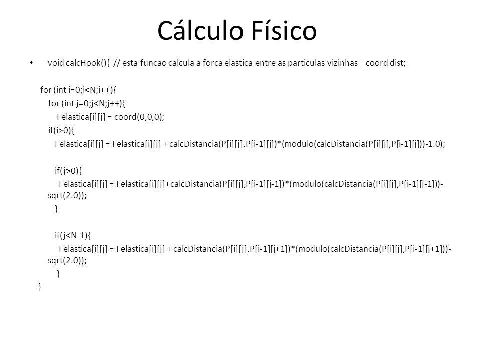 Cálculo Físico void calcHook(){ // esta funcao calcula a forca elastica entre as particulas vizinhas coord dist;