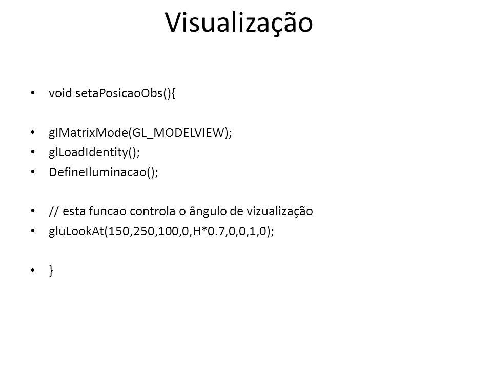 Visualização void setaPosicaoObs(){ glMatrixMode(GL_MODELVIEW);