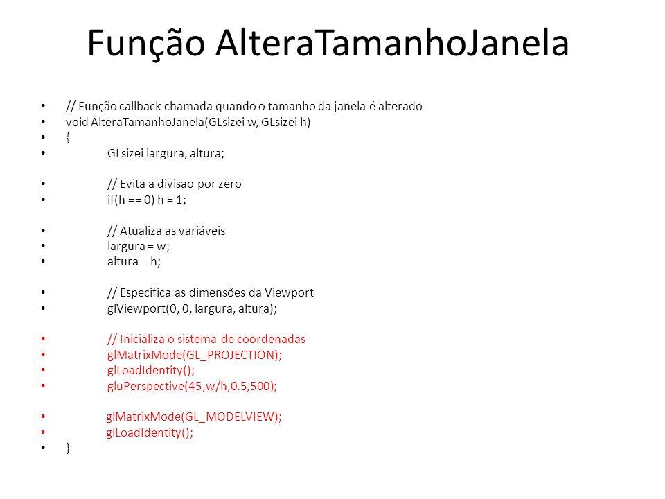 Função AlteraTamanhoJanela
