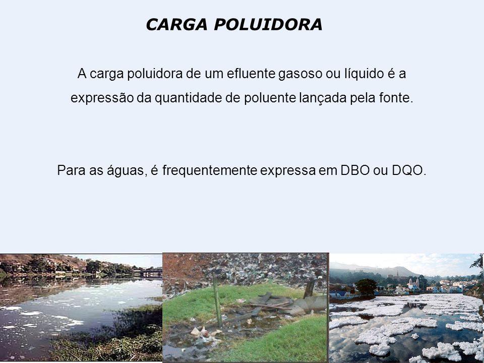 CARGA POLUIDORA A carga poluidora de um efluente gasoso ou líquido é a