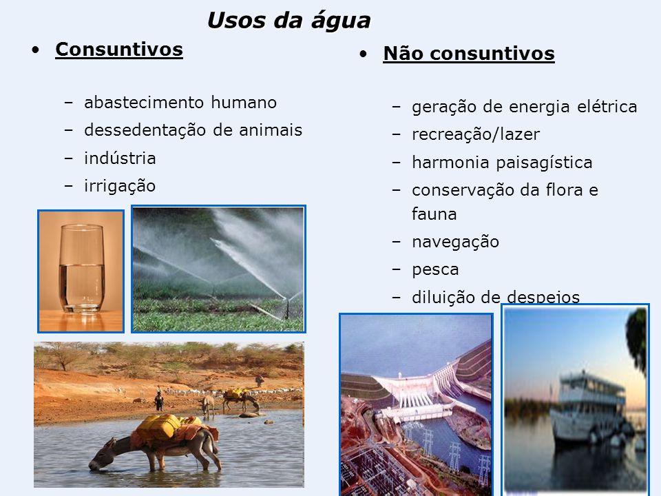 Usos da água Consuntivos Não consuntivos abastecimento humano