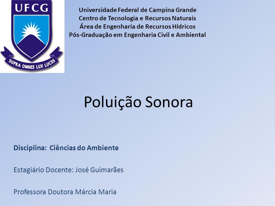 Poluição Sonora Disciplina: Ciências do Ambiente