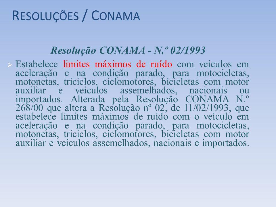 Resoluções / Conama Resolução CONAMA - N.º 02/1993