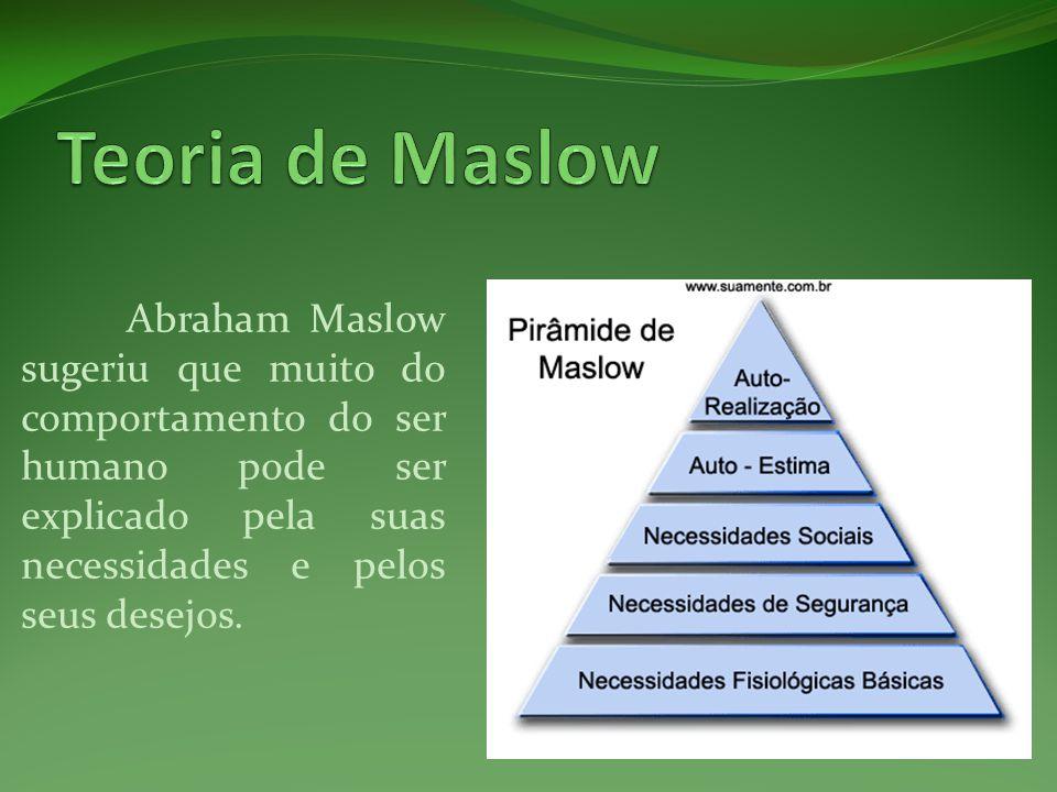 Teoria de Maslow Abraham Maslow sugeriu que muito do comportamento do ser humano pode ser explicado pela suas necessidades e pelos seus desejos.