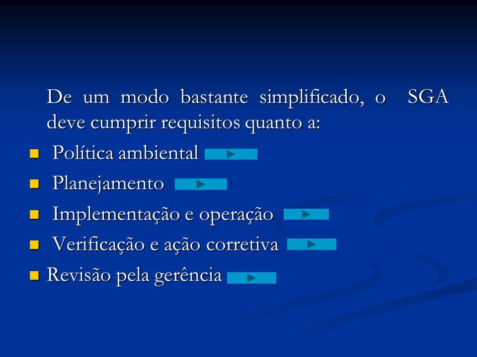 De um modo bastante simplificado, o SGA deve cumprir requisitos quanto a: