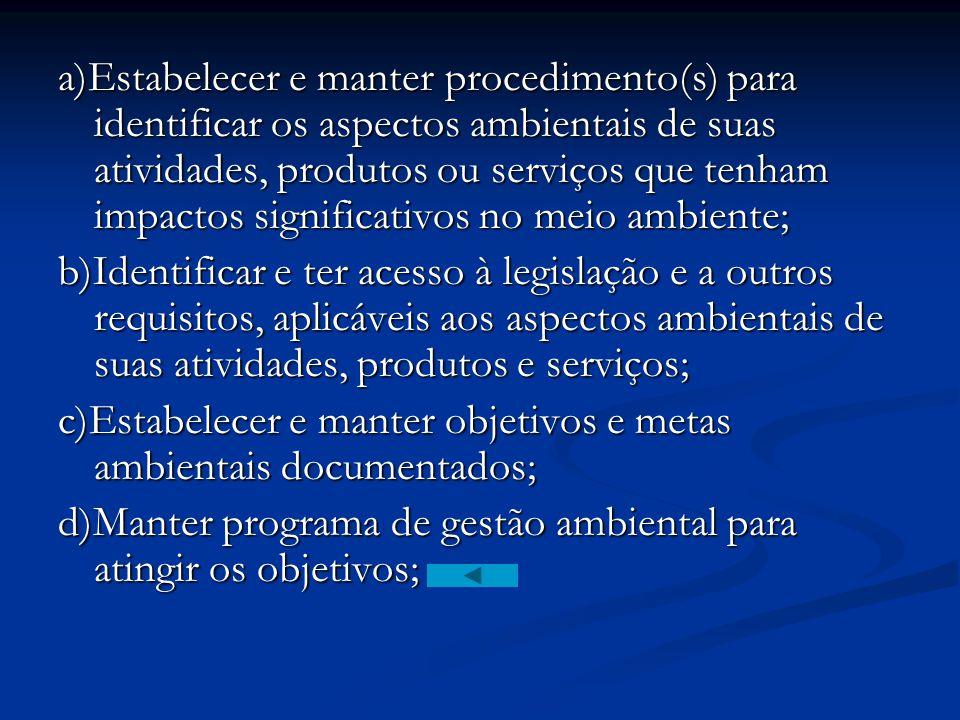 a)Estabelecer e manter procedimento(s) para identificar os aspectos ambientais de suas atividades, produtos ou serviços que tenham impactos significativos no meio ambiente;