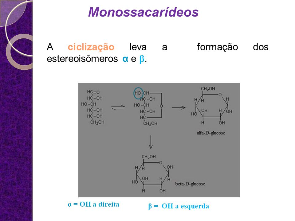 Monossacarídeos A ciclização leva a formação dos estereoisômeros α e β.