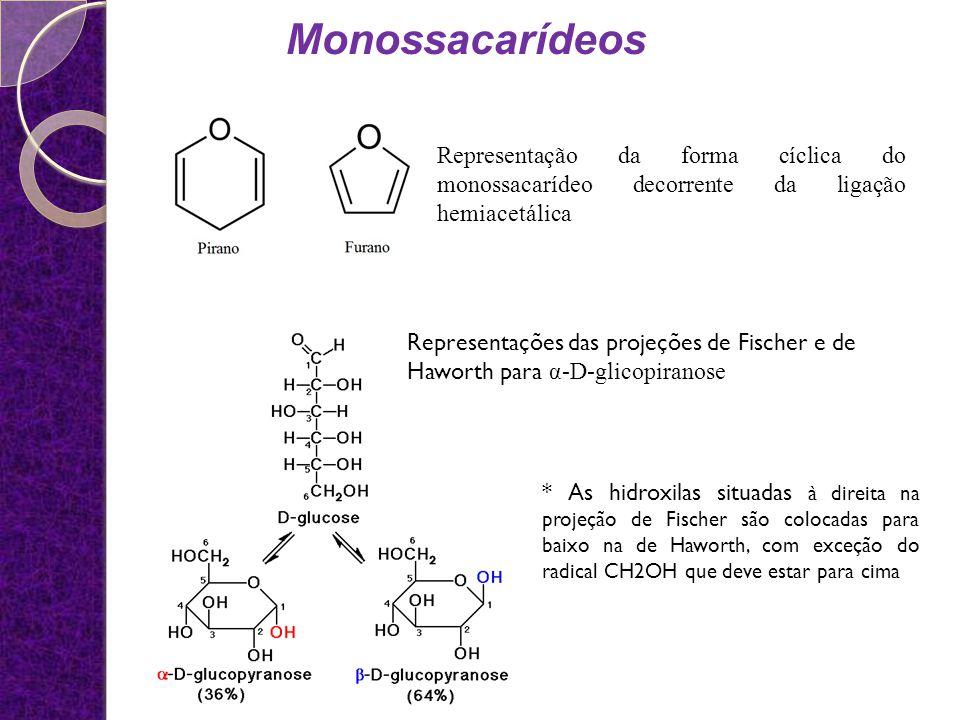 Monossacarídeos Representação da forma cíclica do monossacarídeo decorrente da ligação hemiacetálica.