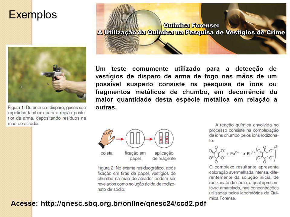Exemplos Acesse: http://qnesc.sbq.org.br/online/qnesc24/ccd2.pdf