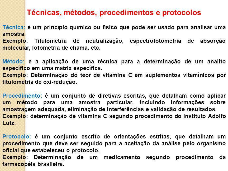 Técnicas, métodos, procedimentos e protocolos