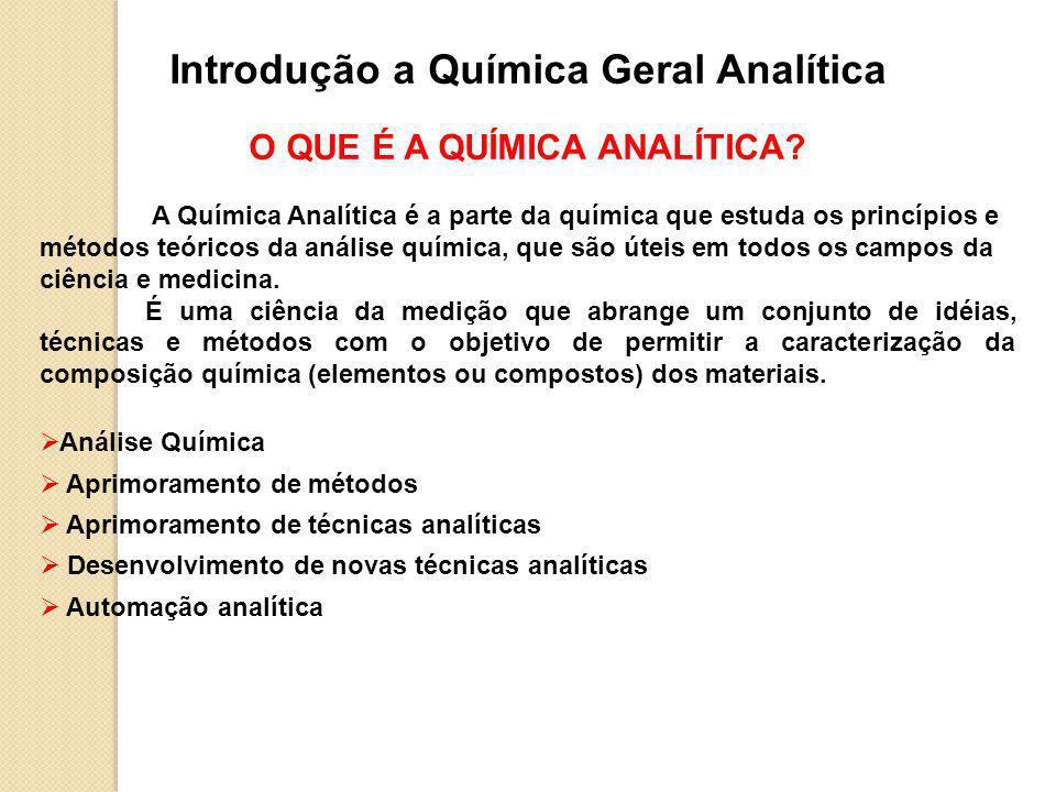 Introdução a Química Geral Analítica O QUE É A QUÍMICA ANALÍTICA