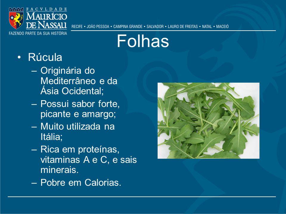 Folhas Rúcula Originária do Mediterrâneo e da Ásia Ocidental;