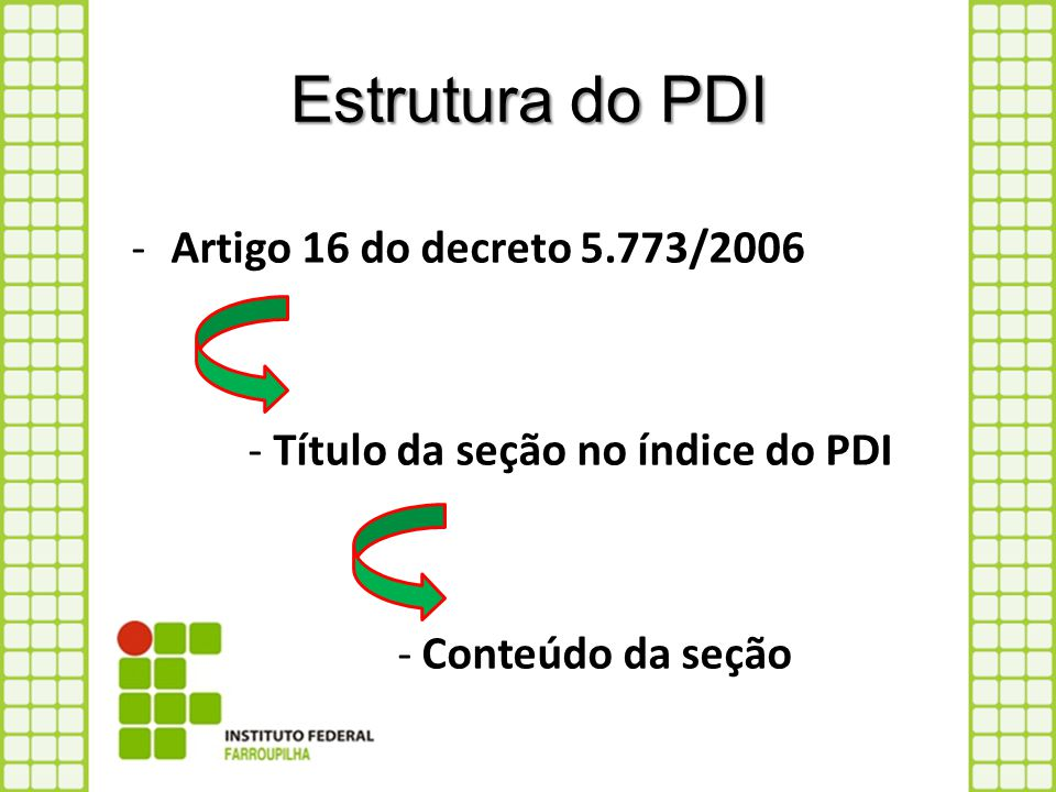 Estrutura do PDI Artigo 16 do decreto 5.773/2006