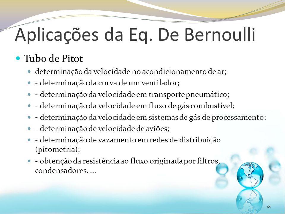 Aplicações da Eq. De Bernoulli