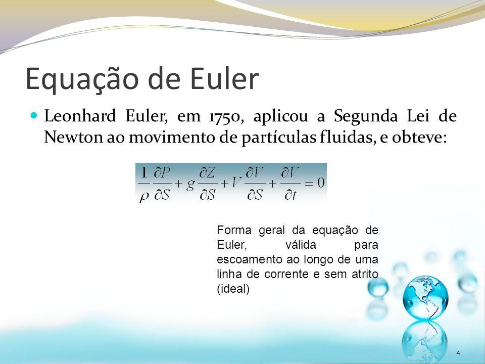 Equação de Euler Leonhard Euler, em 1750, aplicou a Segunda Lei de Newton ao movimento de partículas fluidas, e obteve: