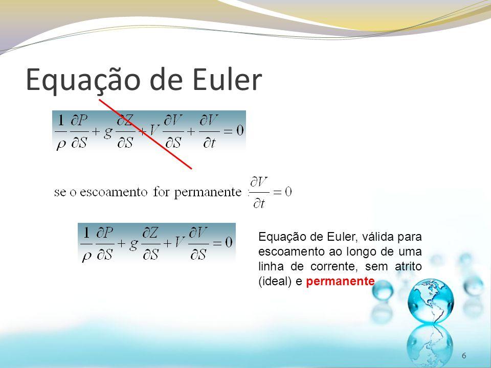 Equação de Euler Equação de Euler, válida para escoamento ao longo de uma linha de corrente, sem atrito (ideal) e permanente.