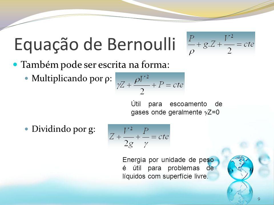 Equação de Bernoulli Também pode ser escrita na forma: