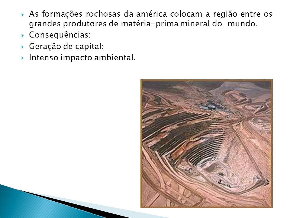 As formações rochosas da américa colocam a região entre os grandes produtores de matéria-prima mineral do mundo.