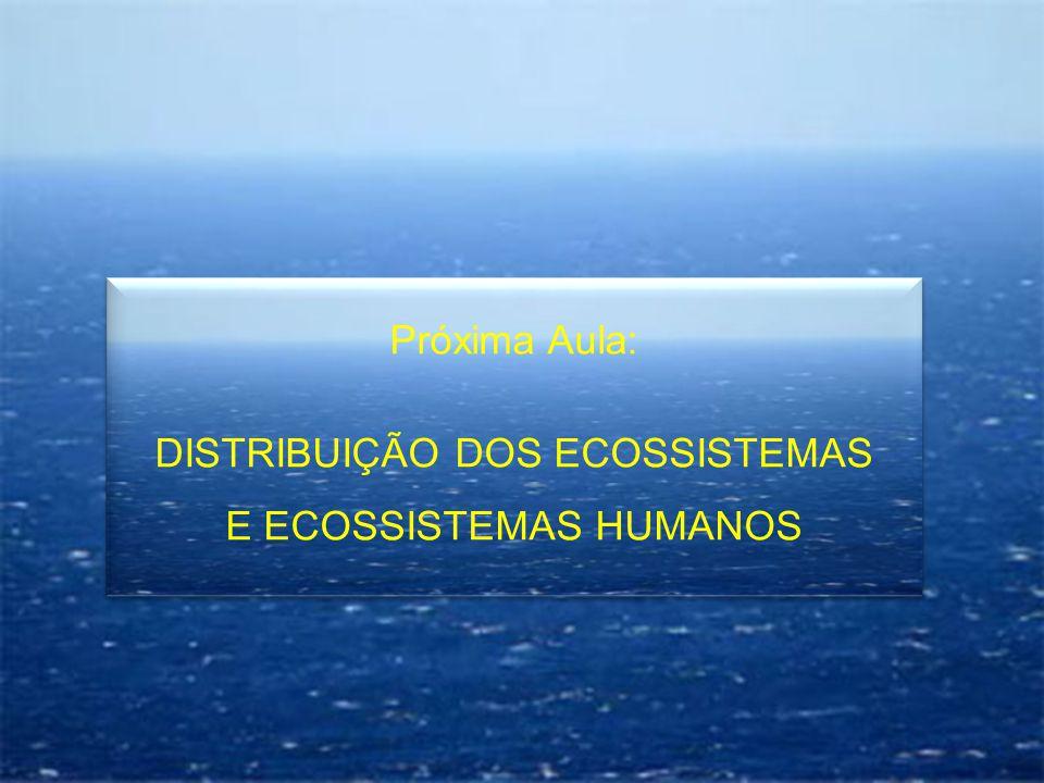 DISTRIBUIÇÃO DOS ECOSSISTEMAS E ECOSSISTEMAS HUMANOS