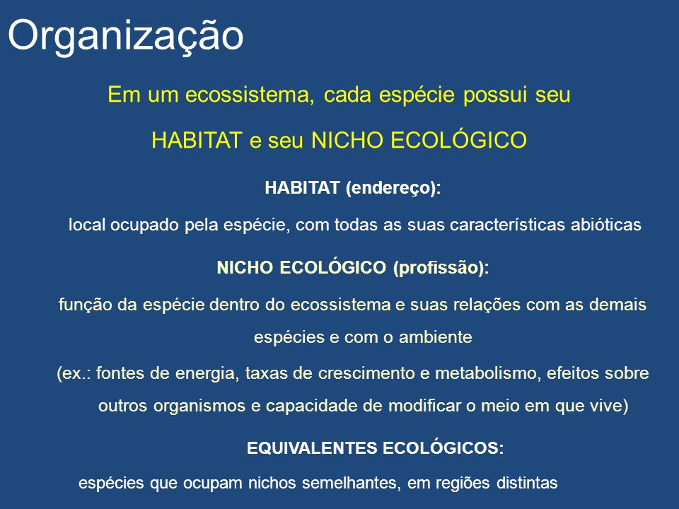 NICHO ECOLÓGICO (profissão): EQUIVALENTES ECOLÓGICOS: