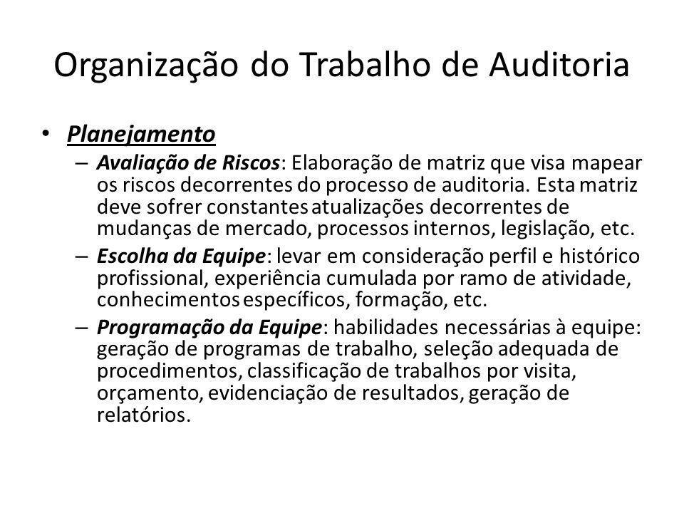 Organização do Trabalho de Auditoria