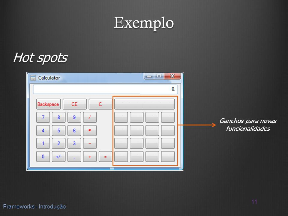 Exemplo Hot spots Ganchos para novas funcionalidades