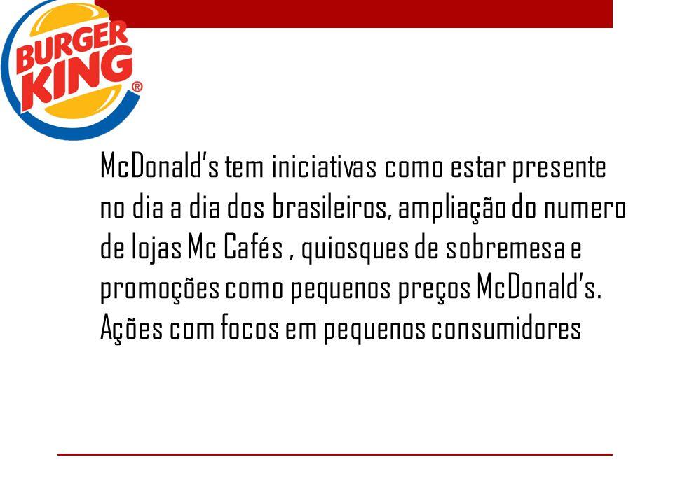 McDonald's tem iniciativas como estar presente no dia a dia dos brasileiros, ampliação do numero de lojas Mc Cafés , quiosques de sobremesa e promoções como pequenos preços McDonald's.