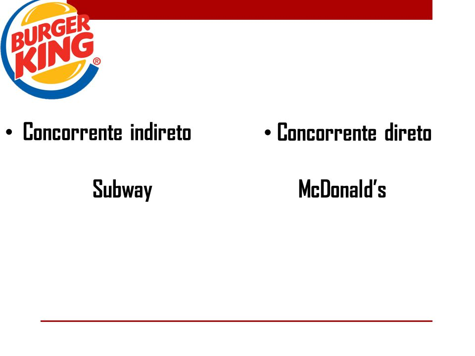 Concorrente indireto Subway Concorrente direto McDonald's