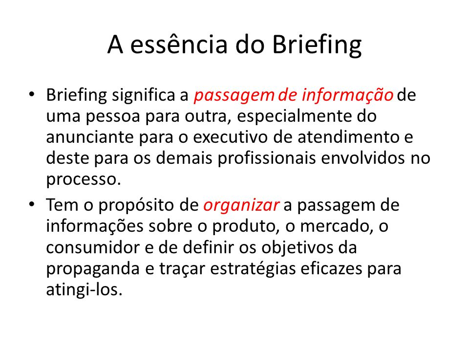 A essência do Briefing