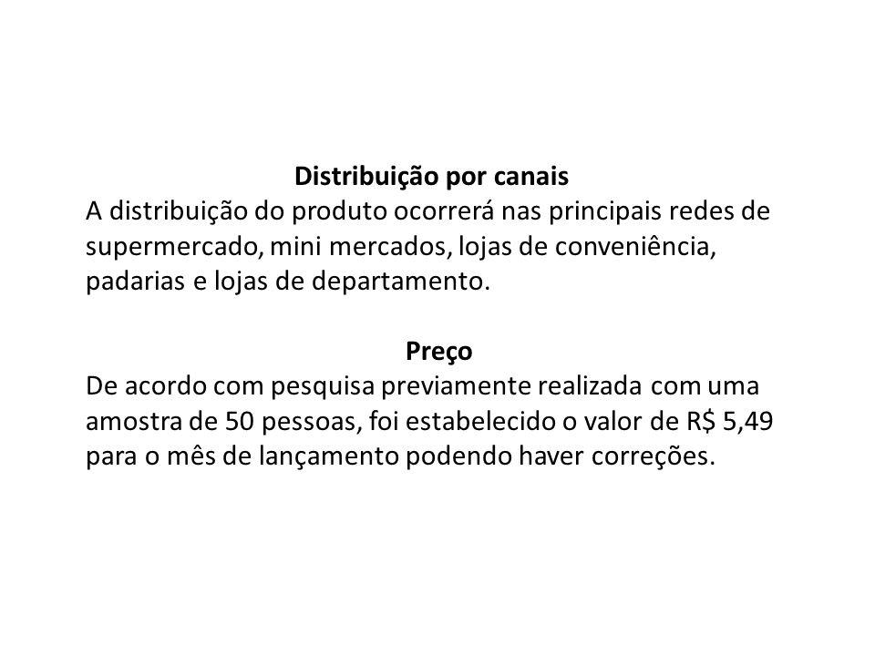 Distribuição por canais A distribuição do produto ocorrerá nas principais redes de supermercado, mini mercados, lojas de conveniência, padarias e lojas de departamento.