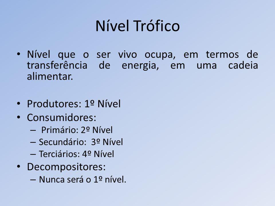 Nível Trófico Nível que o ser vivo ocupa, em termos de transferência de energia, em uma cadeia alimentar.